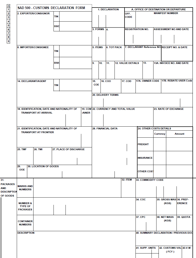 sample customs declaration form usa pdf