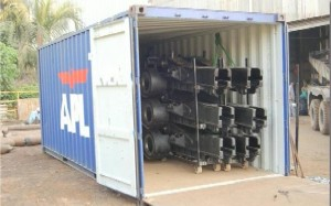 machinery in container 300x187 - Cargo types and packing method in containers