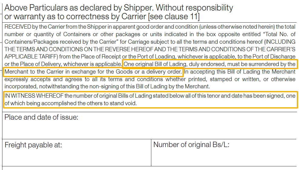 original bill of lading and release of cargo