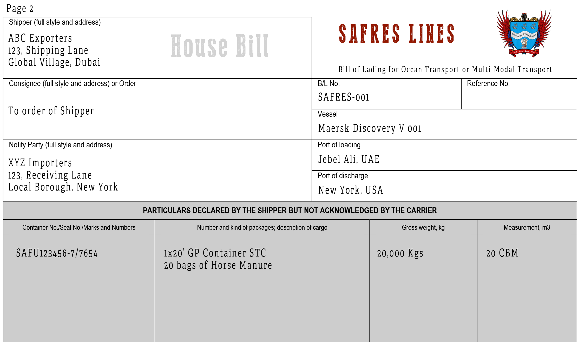 bill of lading terms and conditions pdf