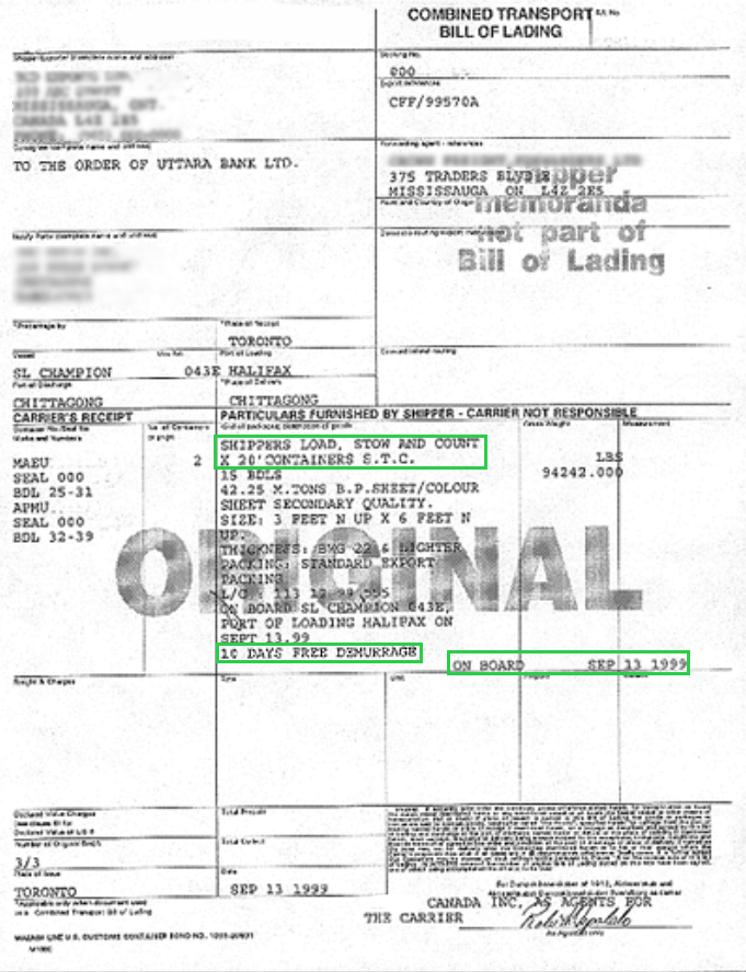 sample bill of laden