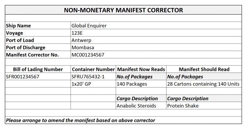 manifest corrector- shipping and freight resource