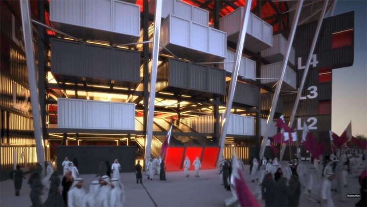qatar soccer stadium shipping container